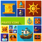 Pirates Flat Cartoon Icons - stock illustration