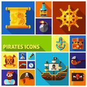 Pirates Flat Cartoon Icons Piirros
