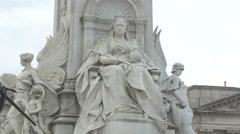 Queen Victoria statue on Victoria Memorial in London - stock footage