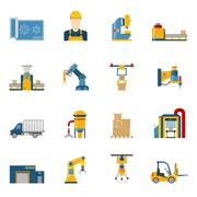 Production Line Icons Isolated Stock Illustration
