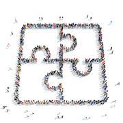 People shape  puzzle icon Stock Illustration