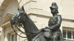 Equestrian statue in House Guards Parade, London - stock footage