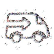 People  car conveyor icon Stock Illustration