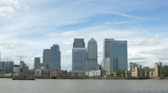 View of Canary Wharf with tall buildings in London Stock Footage