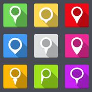 Map Pins Icons - stock illustration