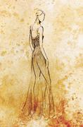 Standing figure woman, pencil sketch on paper. Watercolor background - stock illustration