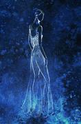 Standing figure woman, pencil sketch on paper. Blue background - stock illustration