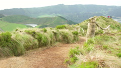 Empty Viewpoint Pathway of Sete Cidades Stock Footage