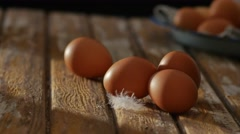 Sunrise on eggs in rustic farmhouse kitchen Stock Footage