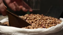 Buying Pinto beans in the market Stock Footage