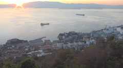Sunset over Gibraltar Stock Footage