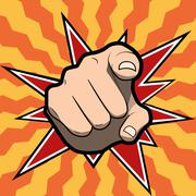 Pointing finger or hand pointing icon isolated on colored background Stock Illustration