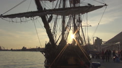 The old frigate at berth Stock Footage