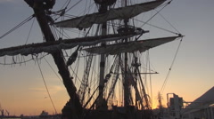Frigate at sunset Malaga Stock Footage