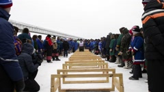 "Jumping over the sledge at the national festival - ""Day of the reindeer herders' - stock footage"