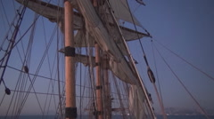 Sail and the moon, Frigate Stock Footage