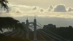Albert Bridge's pylons in London Stock Footage