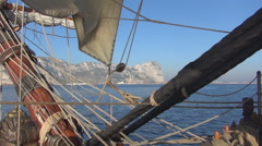 Gibraltar on board the old frigate Stock Footage