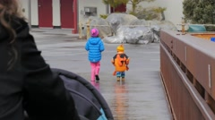 Kids Walking At the Zoo Stock Footage