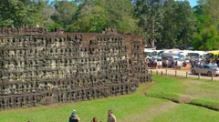 Terrace of Elephants, part of Angkor Thom, ruined temple in Cambodia Stock Footage