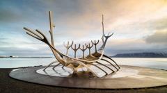 Solfar Sun voyager timelapse public art in iceland Stock Footage