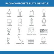 Radio components flat line style Piirros