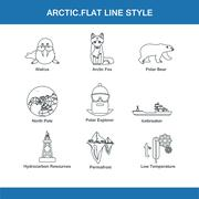 Arctic flat line style Stock Illustration