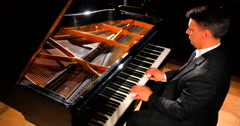 4K Piano Solo Player, Musical Pianist at Keys of Classical Grand Piano Stock Footage