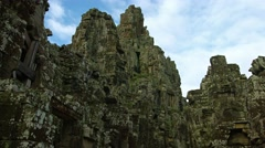 Ancient hand cut stonework of Bayon Temple near Siem Reap, Cambodia Stock Footage