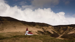TImelapse over church Iceland Stock Footage