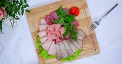 Cold cuts on white tablecloths Stock Footage