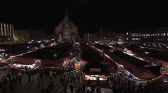 High angle view of the Christkindlesmarkt in Nuremberg Stock Footage