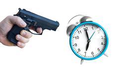 Clock and pistol - stock illustration