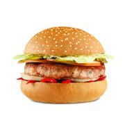 Chili cheeseburger isolated at white background Stock Photos
