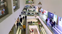 Crowds of shoppers at the mall center Stock Footage