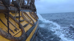Starboard old frigate Stock Footage