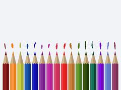 Illustration of colored pencils on the background of the canvas - stock illustration