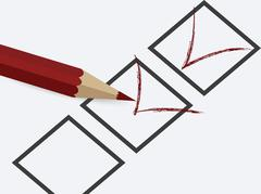 Illustration of filling out the questionnaire - stock illustration