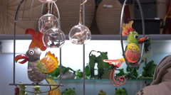 Close up of parrot decorations at the Christmas market in Nuremberg Stock Footage