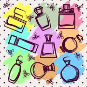 Set of different perfume bottles in vector - stock illustration