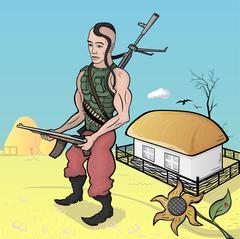 Ukrainian soldiers Stock Illustration