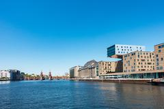 View over the river Spree to Berlin - stock photo