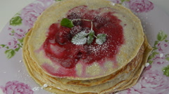 Pancakes, Raspberry Jelly and Icing Sugar Stock Footage