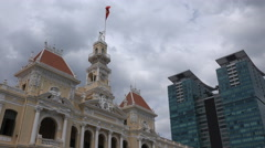 Vietnam architecture, colonial style building, modern office tower shopping mall - stock footage