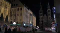 Shops on Karolinenstraße near St. Lorenz Church on Christmas, Nuremberg Stock Footage