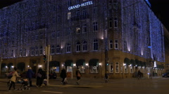 Walking by Le Méridien Grand Hotel on Christmas in Nuremberg Stock Footage