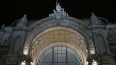The beautiful facade of the Central Station on Christmas in Nuremberg Stock Footage
