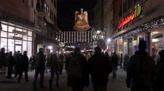Walking on Spitalgasse near the Children's Christmas Market, Nuremberg Stock Footage