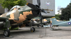 United States military propeller aircraft in war museum Saigon, Vietnam - stock footage