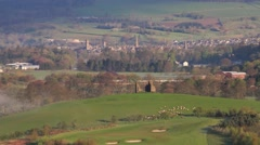 Morning view overlooking the town of Peebles, Scottish Borders Stock Footage